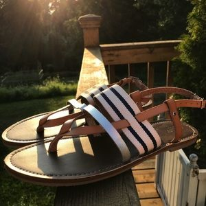 BRAND NEW NEVER WORN blue and white striped sandal